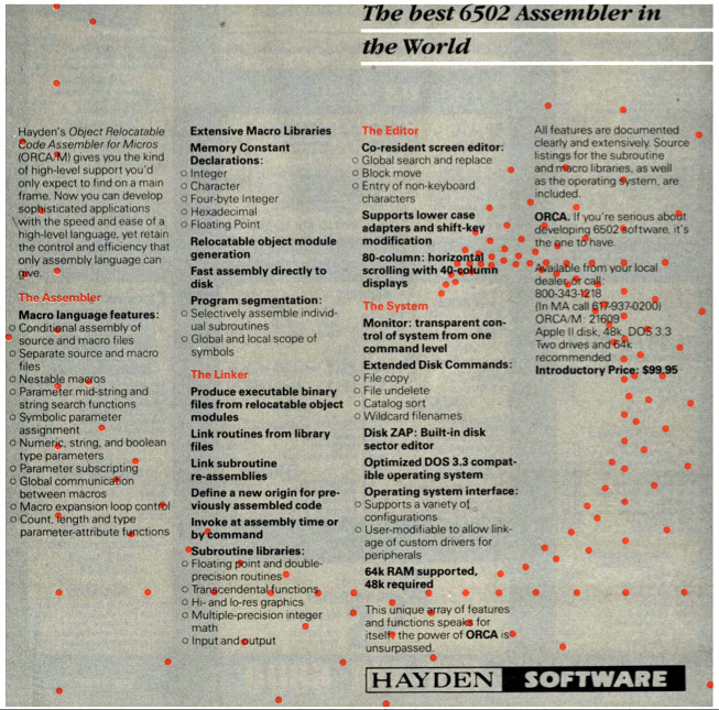Hayden, initial ORCA/M ad, January 1983, BYTE