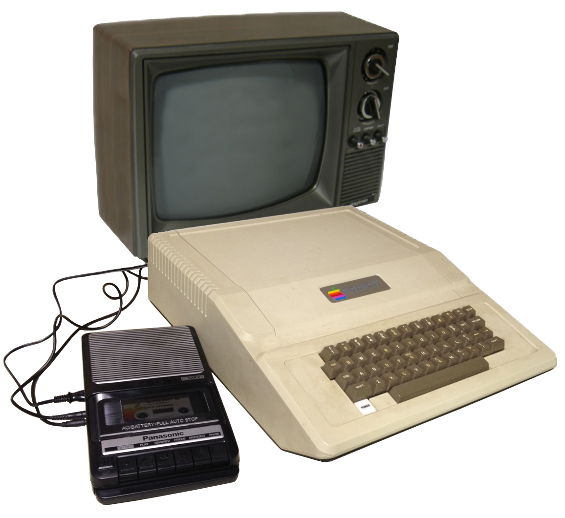 Apple II, Panasonic RQ-2102 cassette, and TV