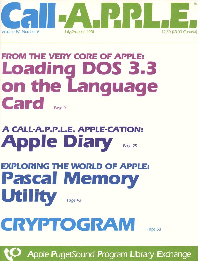 Call-A.P.P.L.E Jul 1981 cover