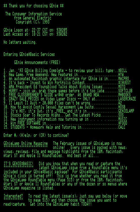 GEnie scrollback, Feb 1993